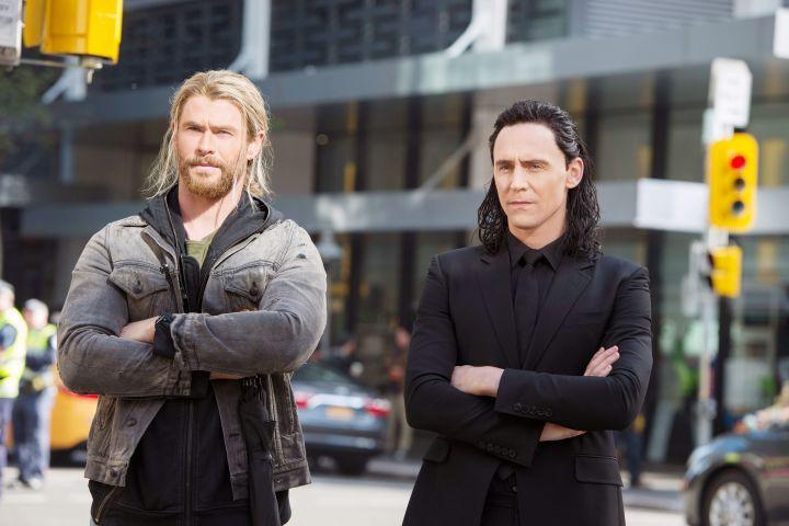 Chris Hemsworth as Thor, Tom Hiddleston as Loki