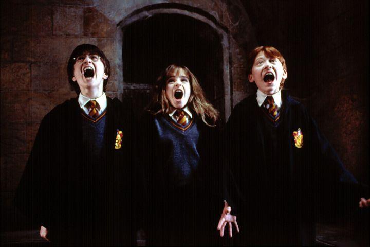 """HARRY POTTER AND THE SORCERER'S STONE"", Daniel Radcliffe, Emma Watson, Rupert Grint, 2001."