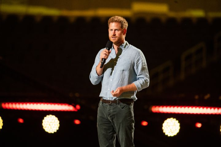 Prince Harry gives remarks at the Vax Live concert.