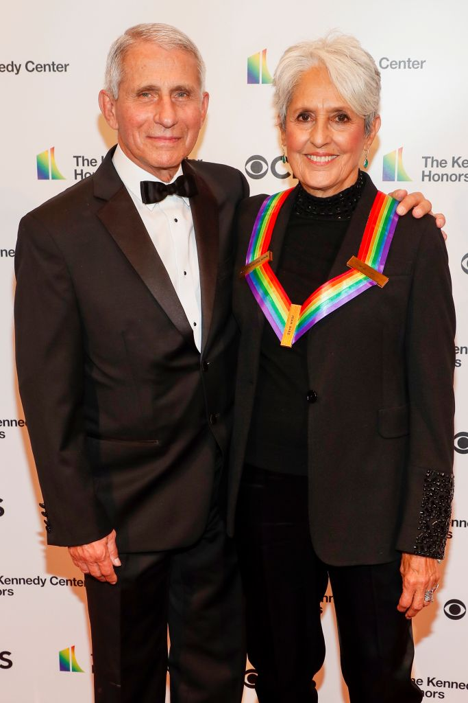 Dr. Anthony Fauci and Joan Baez attend the 43rd Annual Kennedy Center Honours at The Kennedy Center on May 21, 2021 in Washington, DC.