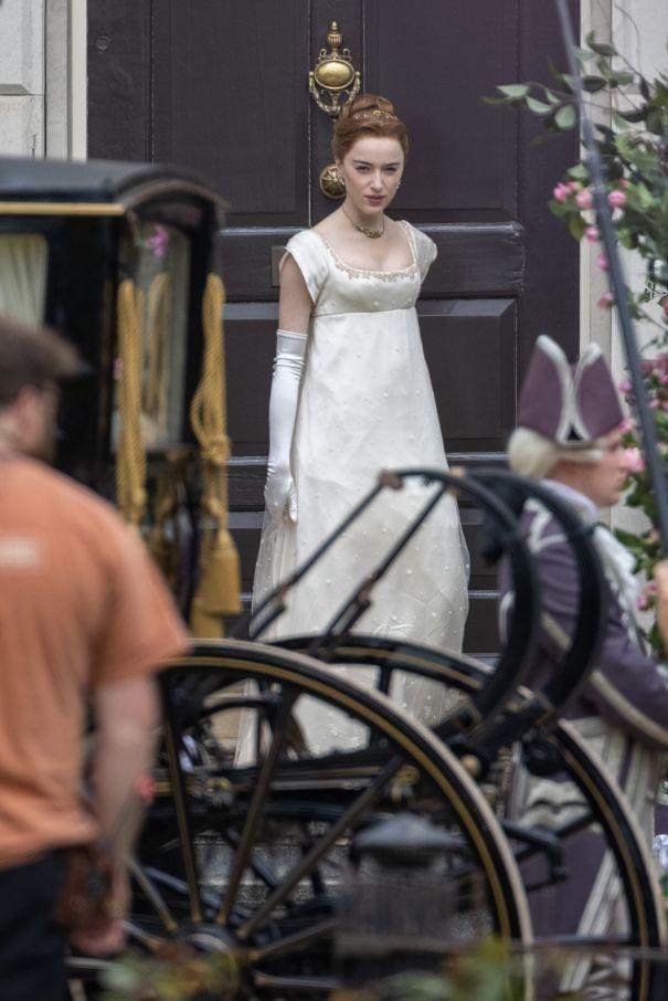 Phoebe Dynevor Films 'Bridgerton' Season 2 In London, U.K.