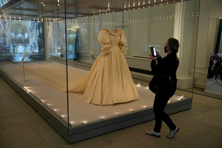 """Princess Diana's wedding dress features in the """"Royal Style in the Making"""" exhibition at Kensington Palace in London, U.K."""