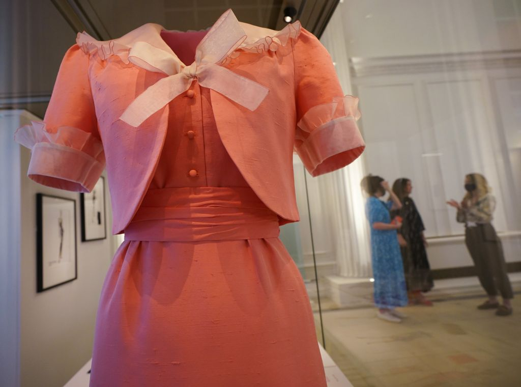 A dress and jacket worn by Diana, Princess of Wales, by David Sassoon, Bellville Sassoon, 1981. Photo: CPImages