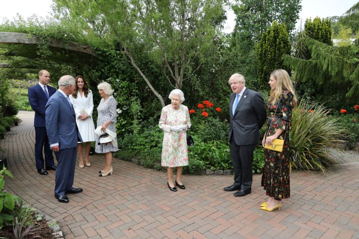 Queen Elizabeth II,  Prince Charles, Camilla, the Duchess of Cornwall,  Prince William, Kate the Duchess of Cambridge and Britain's Prime Minister Boris Johnson