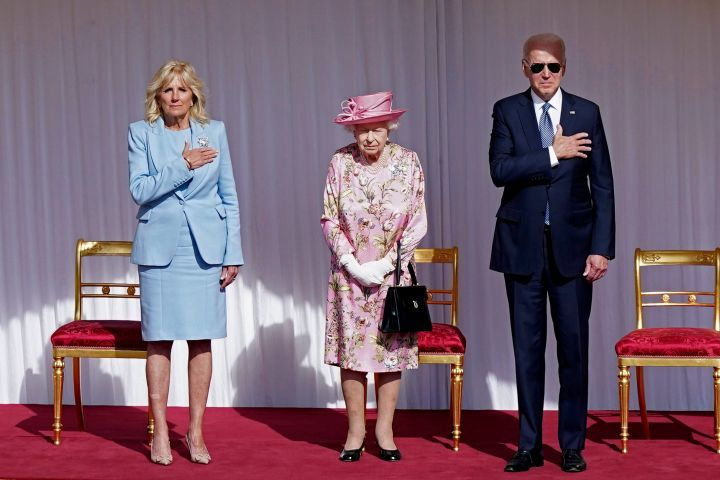 US President Joe Biden, right, and first lady Jill Biden, left, stand with Britain's Queen Elizabeth II, during a visit to Windsor Castle, in Windsor. Photo: Arthur Edwards/Pool via AP/CPImages