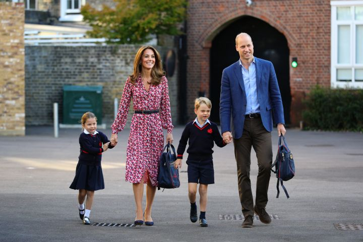 Princess Charlotte, Prince George and her parents the Duke and Duchess of Cambridge at Thomas's Battersea in London on September 5, 2019 in London, England.