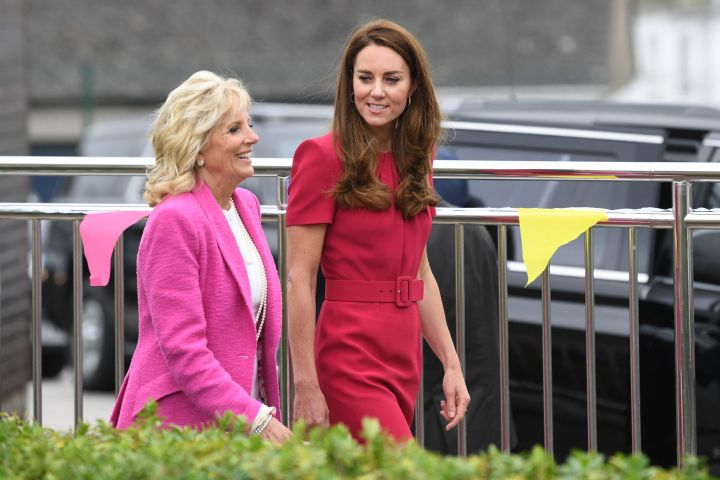 Britain's Catherine, Duchess of Cambridge and U.S. First Lady Jill Biden visit Connor Downs Academy in Hayle, Cornwall on the sidelines of the G7 summit on June 11, 2021. (Photo by DANIEL LEAL-OLIVAS / various sources / AFP / Getty)