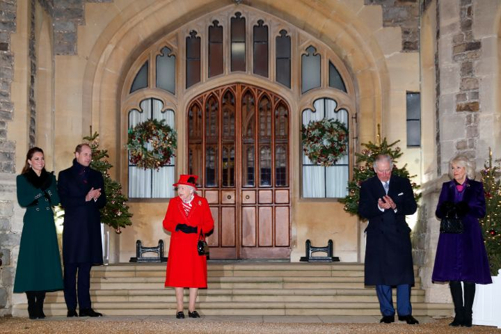WINDSOR, UNITED KINGDOM - DECEMBER 08: Catherine, Duchess of Cambridge, Prince William, Duke of Cambridge, Queen Elizabeth II, Prince Charles, Prince of Wales and Camilla, Duchess of Cornwall