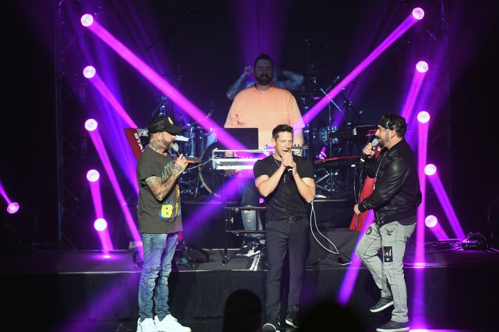 AJ McLean of Backstreet Boys, DJ Lux, Jeff Timmons of 98 Degrees and Chris Kirkpatrick of NSYNC