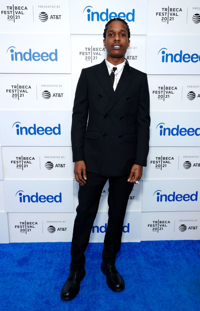 """A$AP Rocky attends 2021 Tribeca Festival Premiere of """"Stockholm Syndrome""""at Battery Park on June 13, 2021 in New York City. (Photo by Arturo Holmes/Getty Images for Tribeca Festival)"""