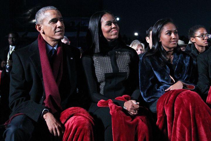 Barack Obama, Michelle Obama and Sasha Obama