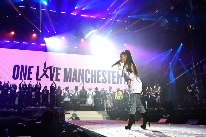 Ariana Grande performs on stage during the One Love Manchester Benefit Concert