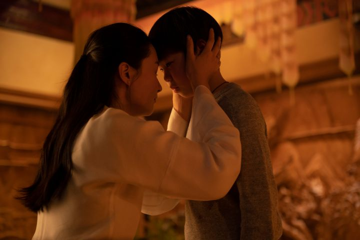 (L-R): Actress Fala Chen and Shang-Chi (Jayden Tianyi Zhang) in Marvel Studios' SHANG-CHI AND THE LEGEND OF THE TEN RINGS. Photo by Jasin Boland. ©Marvel Studios 2021.