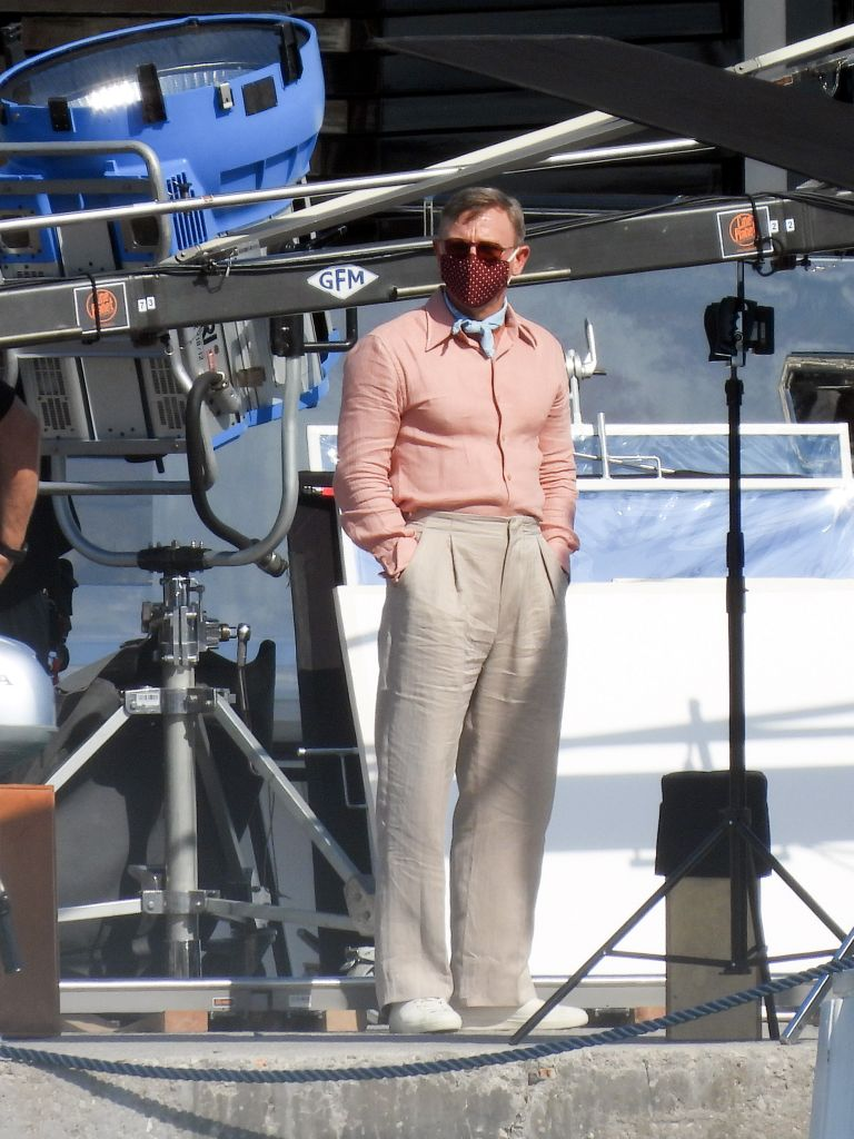 """Daniel Craig is back in action as Detective Benoit Blanc while filming """"Knives Out 2"""" in Greece. Photo: Splash News"""