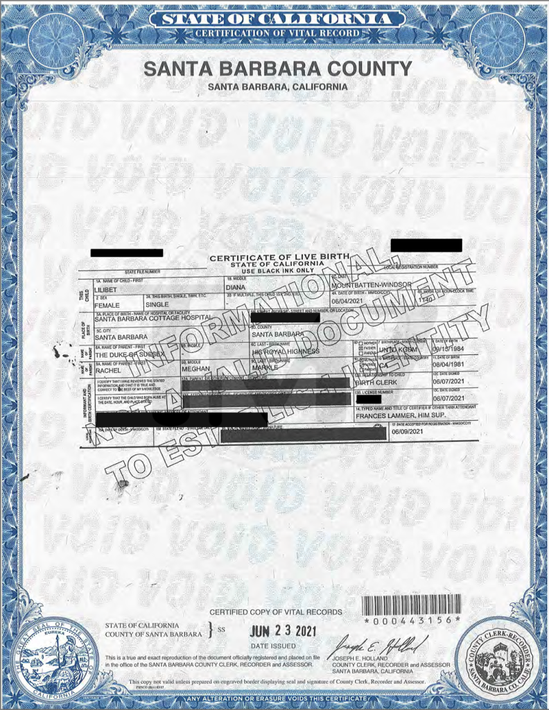 Lilibet 'Lili' Diana Mountbatten-Windsor Birth Certificate