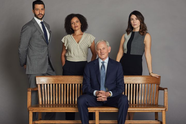 """Jewel Staite, Victor Garber, Zach Smadu and Genelle Williams in """"Family Law"""""""