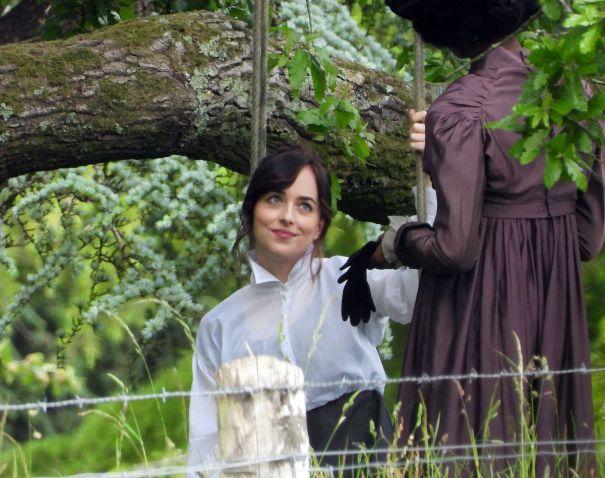 First Look At Dakota Johnson Filming 'Persuasion'