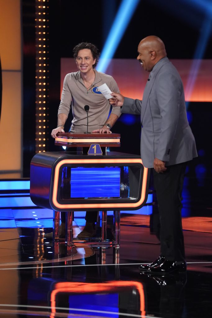 """""""Scrubs"""" stars battle it out on """"Celebrity Family Feud"""". Credit: ABC/Eric McCandless"""