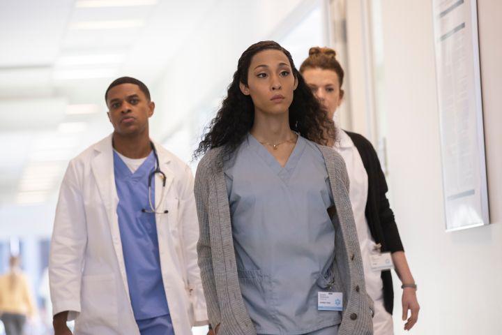 "Jeremy Pope as Christopher, Mj Rodriguez as Blanca, Sandra Bernhard as Nurse Judy on ""Pose""."