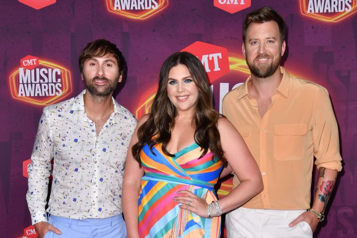 Dave Haywood, Hillary Scott and Charles Kelly of Lady A hit the red carpet at the 2021 CMT Music Awards.