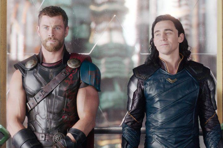 Chris Hemsworth as Thor, Tom Hiddleston as Loki, 2017.