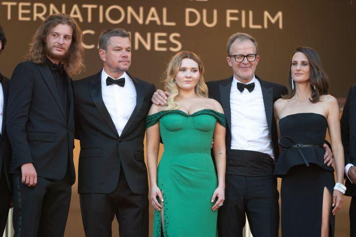 "Idir Azougli, Matt Damon, Abigail Breslin, director Tom McCarthy and Camille Cottin attend the ""Stillwater"" screening. Photo: David Niviere/ABACAPRESS.COM"
