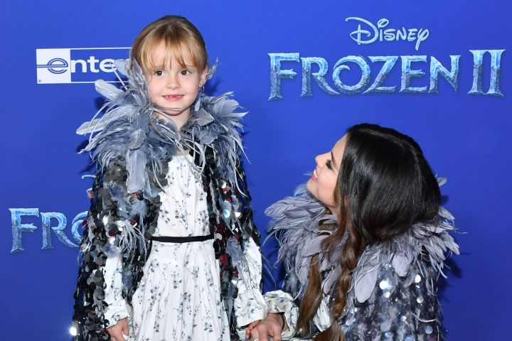 """Gracie Teefey and Selena Gomez attend the premiere of Disney's """"Frozen 2"""" at Dolby Theatre on November 07, 2019."""