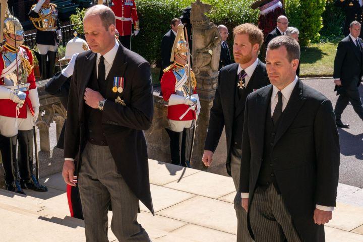 Prince William, Duke of Cambridge, (L), Britain's Prince Harry, Duke of Sussex, (C) and Peter Phillips (R)