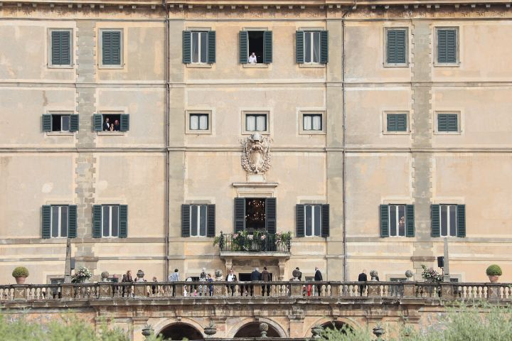 Guests attend the Kitty Spencer and Michael Lewis wedding at Villa Aldobrandini on July 24, 2021 in Frascati, Italy.