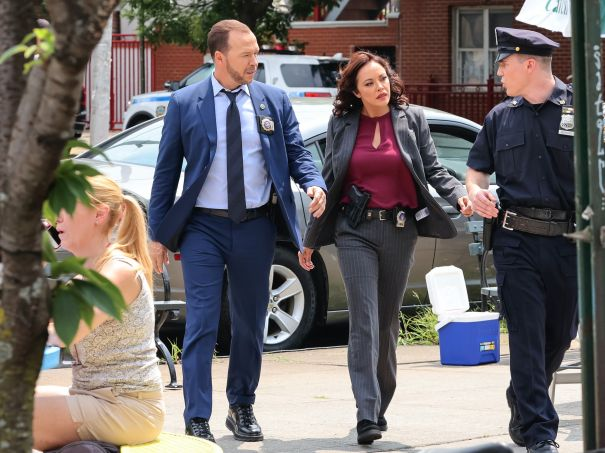 Donnie Wahlberg And Marisa Ramirez On The Set Of 'Blue Bloods'