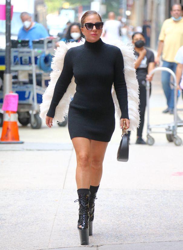 Lady Gaga Sports Angel Wings In NYC