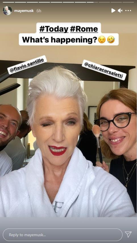 Maye Musk getting ready. Photo@mayemusk/Instagram