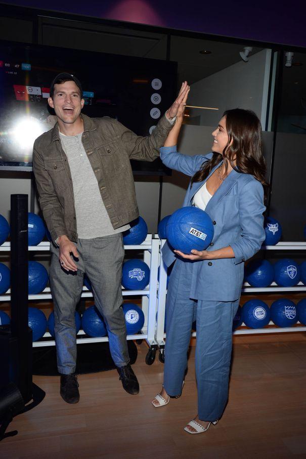 Ashton Kutcher And Jessica Alba At AT&T Event