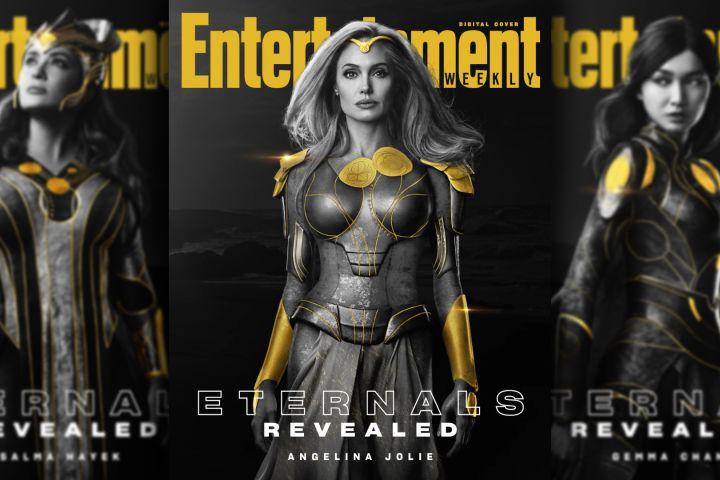 "Salma Hayek, Angelina Jolie and Gemma Chan in ""Eternals"""