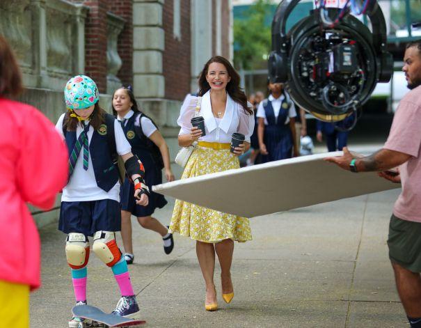Kristin Davis Is All Smiles On Set