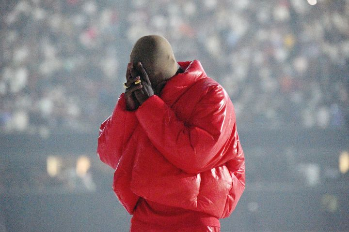 Kanye West is seen at 'DONDA by Kanye West' listening event at Mercedes-Benz Stadium on July 22, 2021