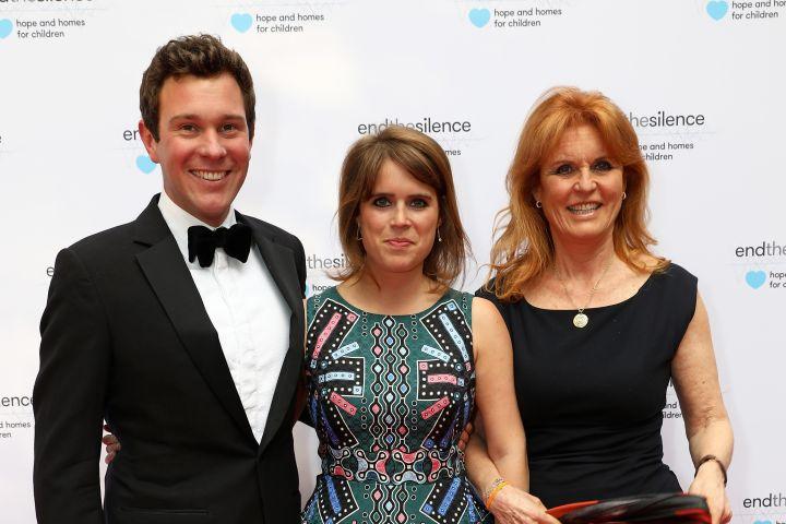 Princess Eugenie, Jack Brooksbank and Sarah Ferguson Duchess of York