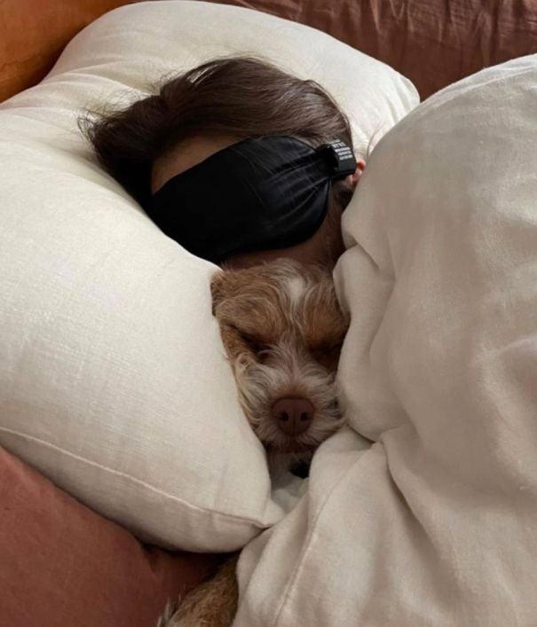 Lily Collins Cuddles With Pup Redford