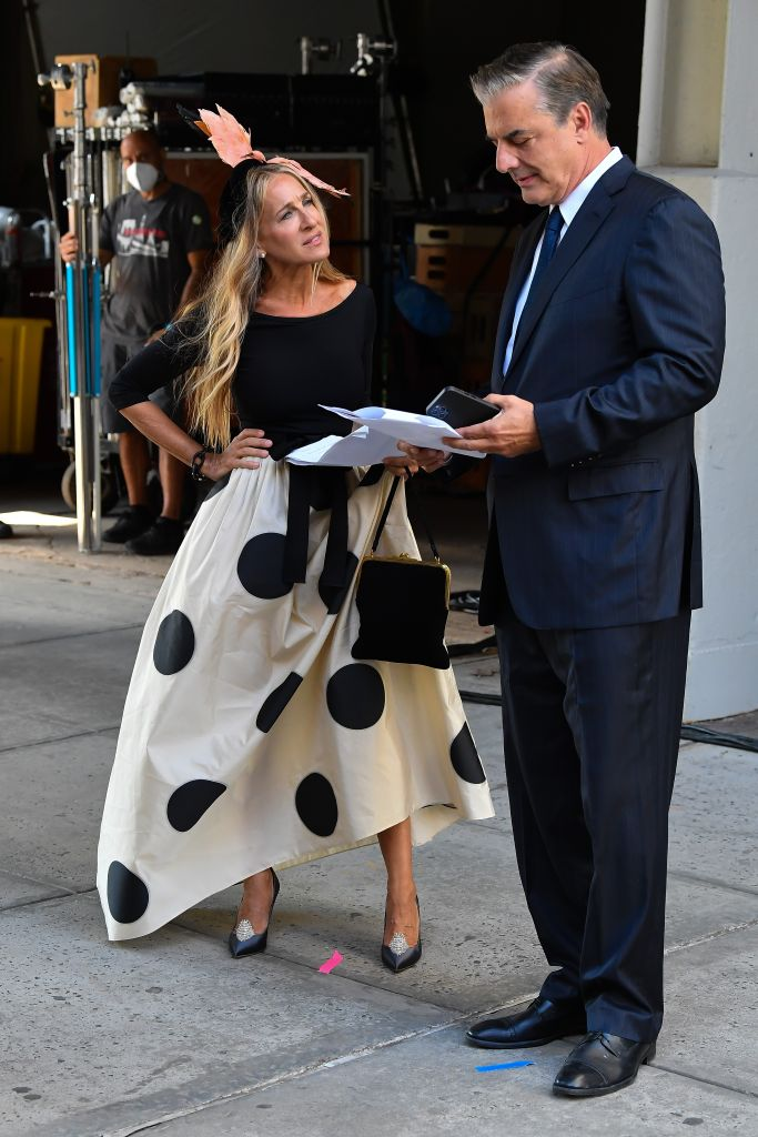 Sarah Jessica Parker and Chris Noth rehearse a scene for 'And Just Like That' the revival series of 'Sex and the City.' Photo Credit: Splash