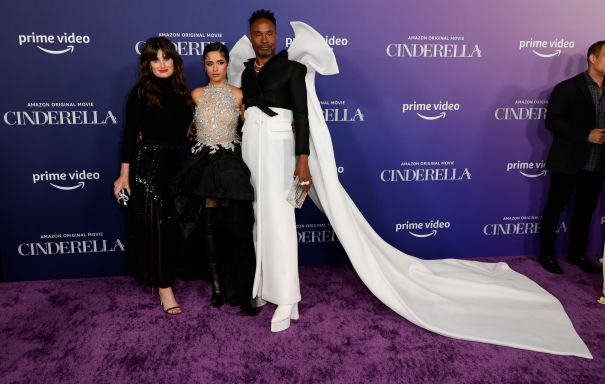 Camila Cabello Poses With Billy Porter And Idina Menzel At 'Cinderella' Premiere
