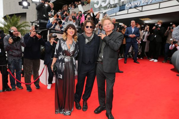 Victoria Mary Clarke, Johnny Depp And Director Julien Temple Pose At 'Crock Of Gold' Premiere