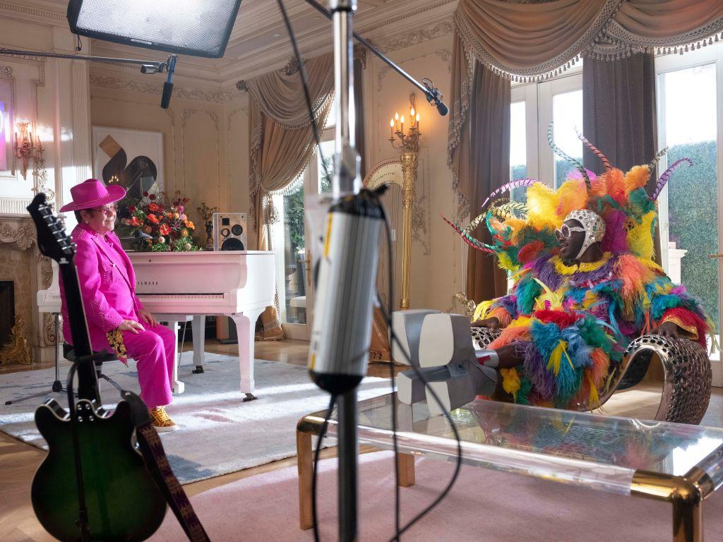 Elton John and Lil Nas X film Uber Eats ad. Credit: Uber Eats