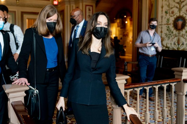 Actress and activist Angelina Jolie walks through the Capitol after meeting with Senate Democratic leadership about the future of the Violence Against Women Act on Capitol Hill in Washington, Tuesday, Sept. 14, 2021.