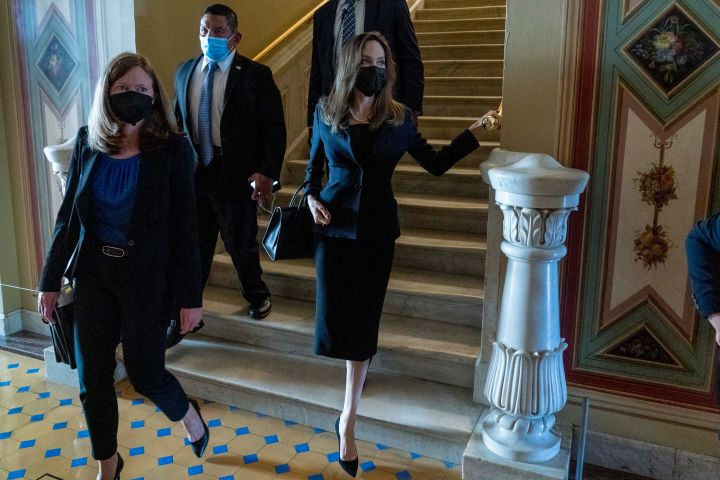 Angelina Jolie meets with Senate Democratic leadership about the future of the Violence Against Women Act on Capitol Hill in Washington, Tuesday, Sept. 14, 2021. Photo: AP Photo/Andrew Harnik/CPImages