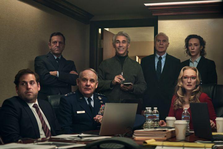 "Jonah Hill, Paul Guilfoyle, Mark Rylance, Meryl Streep in Netflix's ""Don't Look Up"""