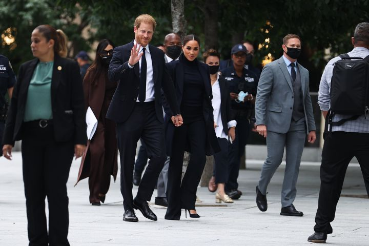 Prince Harry and Meghan Markle visit the One World Observatory as NY Governor Hochul and NYC Mayor Blasio walk along with them in New York City, United States on Sept. 23, 2021.