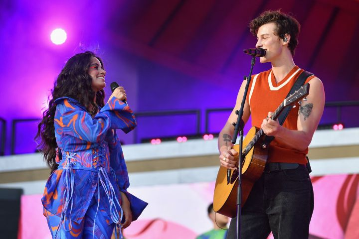 US-Cuban singer-songwriter Camila Cabello (L) and Canadian singer-songwriter Shawn Mendes perform during the 2021 Global Citizen Live festival at the Great Lawn, Central Park on September 25, 2021 in New York City.