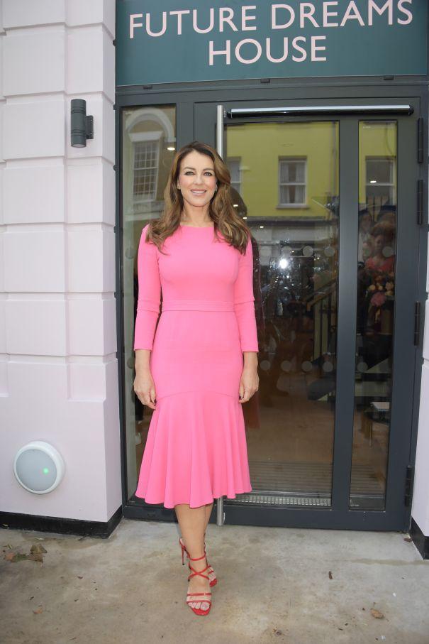 Elizabeth Hurley Looks Pretty In Pink