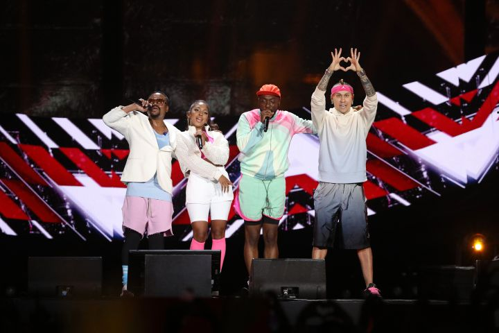 Apl.de.ap, Jessica Reynoso aka J. Rey Soul, Will.I.am and Taboo, singers of The Black-Eyed Peas perform on stage during Global Citizen Live on September 25, 2021 in Paris, France.