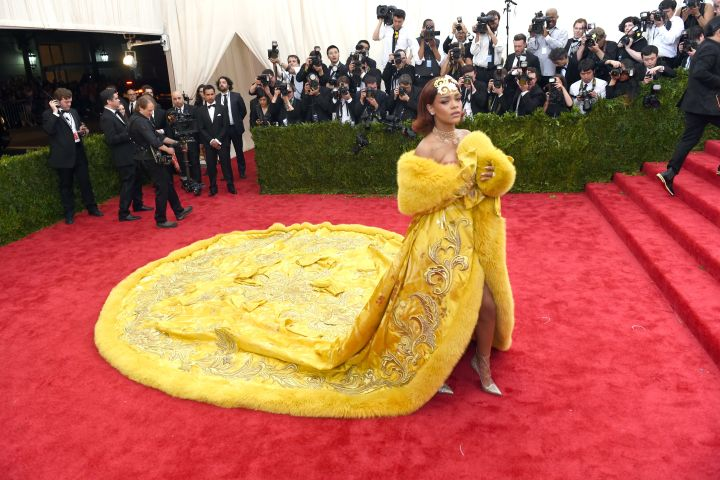 Rihanna arrives at the 2015 Met Gala. Photo: TIMOTHY A. CLARY/AFP via Getty Images